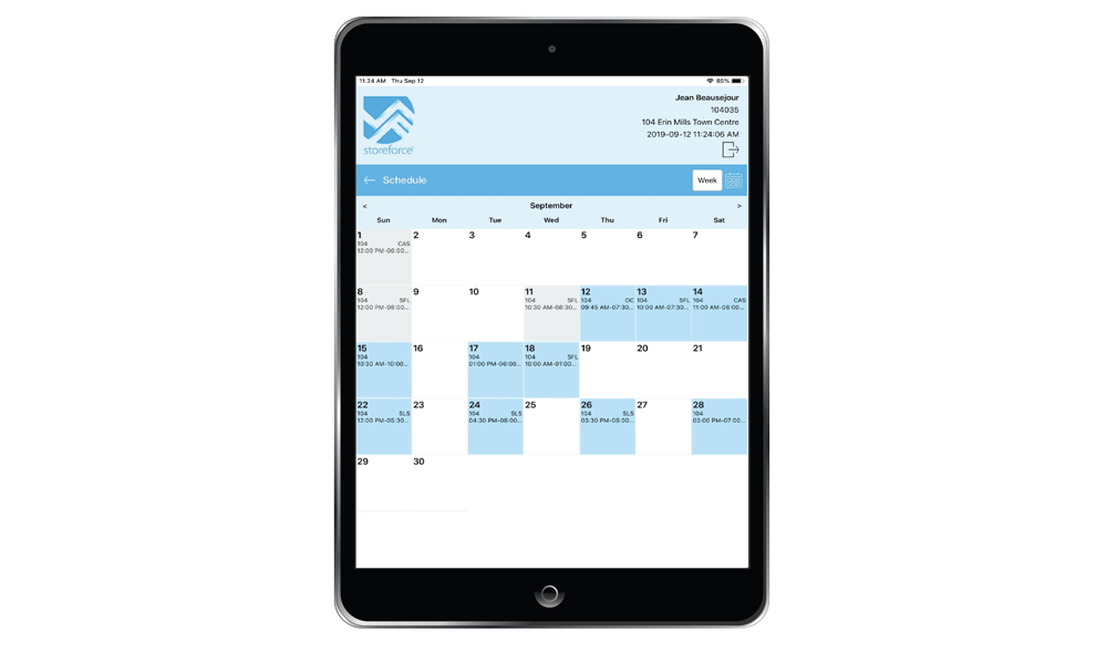 Employee-Self-Service (ESS) - Retail Scheduling Tool Month View