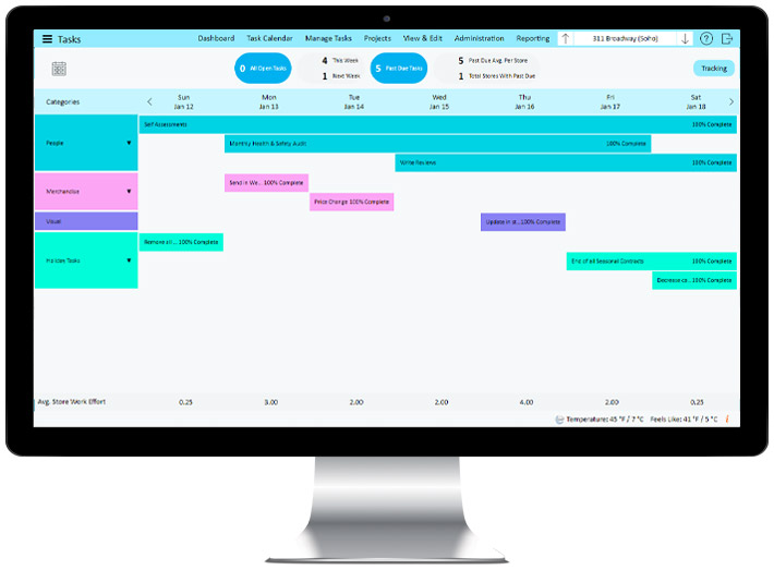 StoreForce's retail task management tool, view from a computer.
