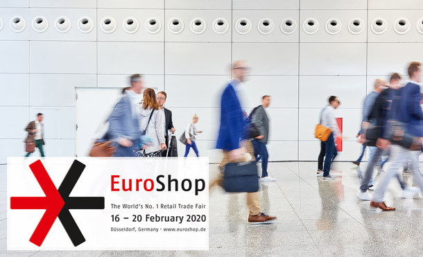 People walking towards a trade show. Cover letter of EuroShop 2020