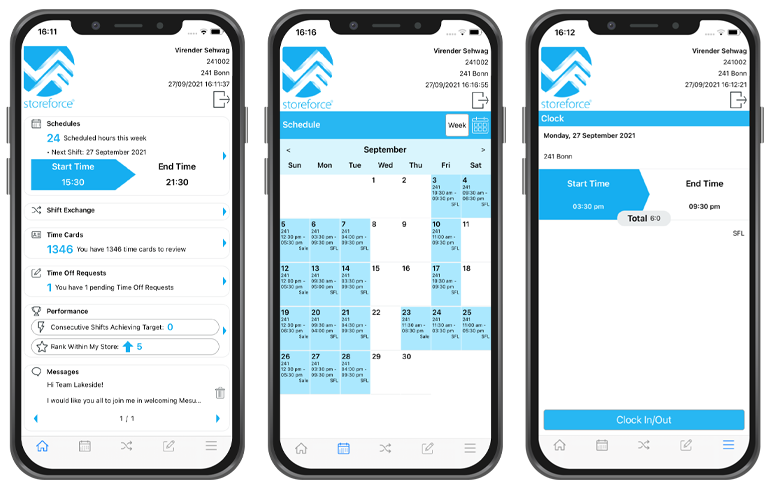 StoreForce - Employee Engagement Software for Retail - View of Dashboard, Schedule and Time and Attendance View
