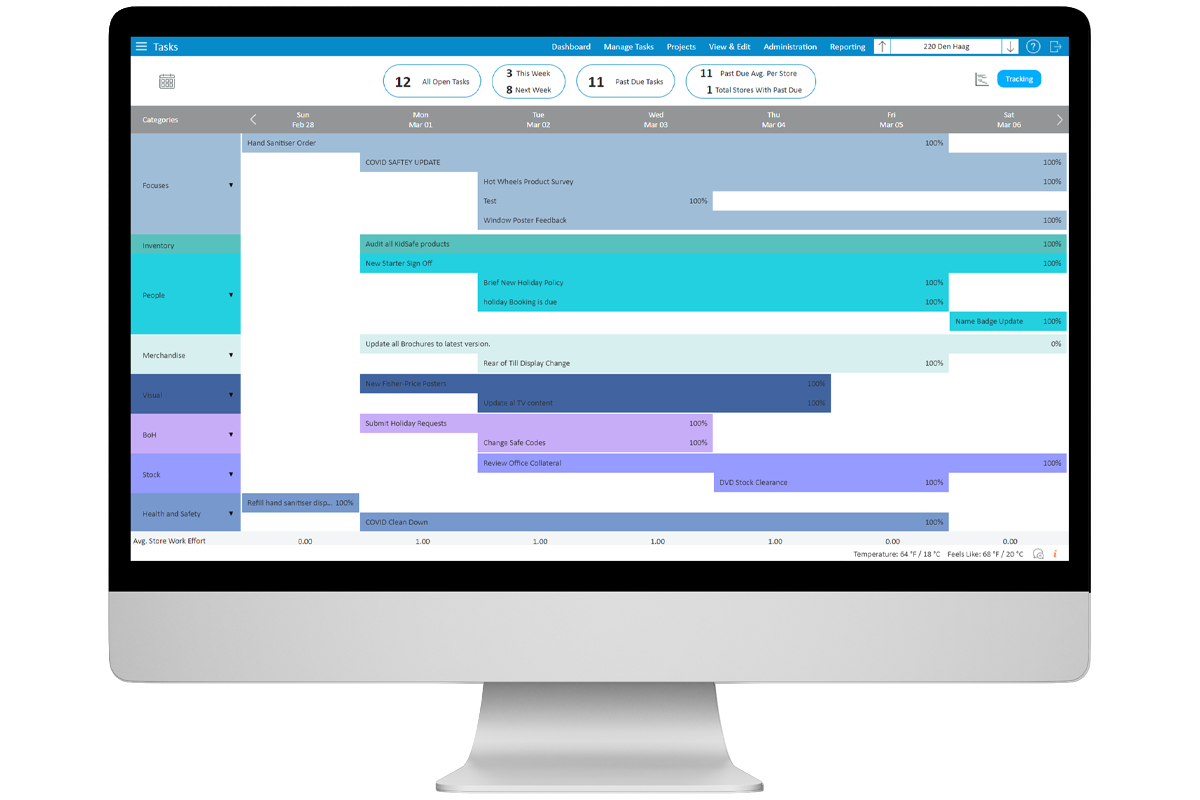 StoreForce - Retail Task Management - View of Tasks of a Store - European Store