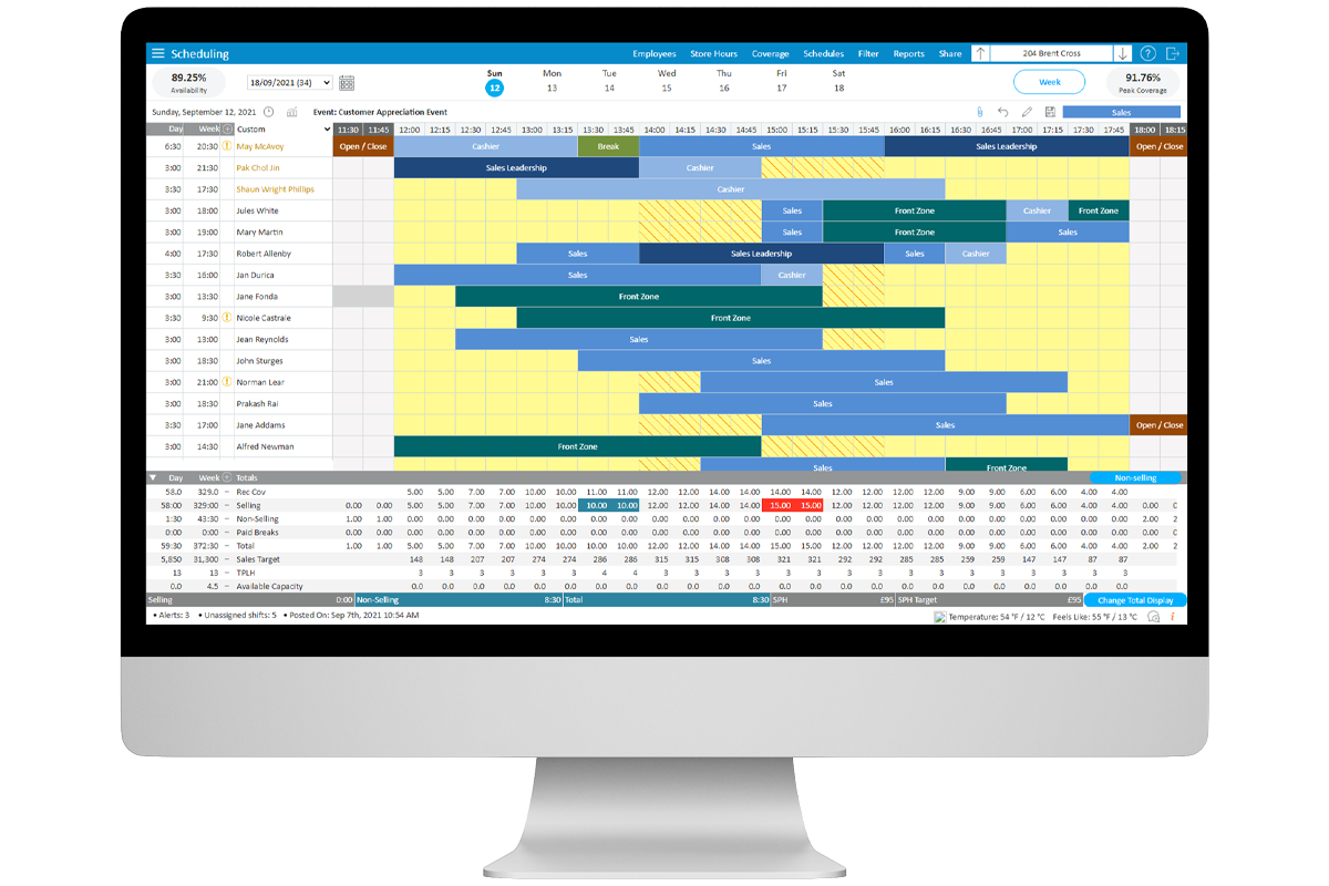 StoreForce - Retail Workforce Management Software - View of Scheduling - Store Level - European store